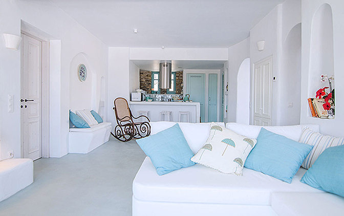 White and Blue Beach House, Ios, Greece | villas for rent, villas to rent